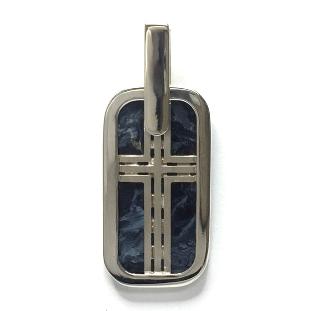 NATURAL PIETERSITE INLAID DOG TAG CROSS PENDANT