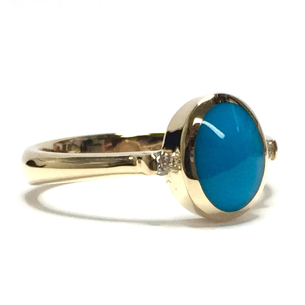 NATURAL SLEEPING BEAUTY TURQUOISE INLAID LADIES RING
