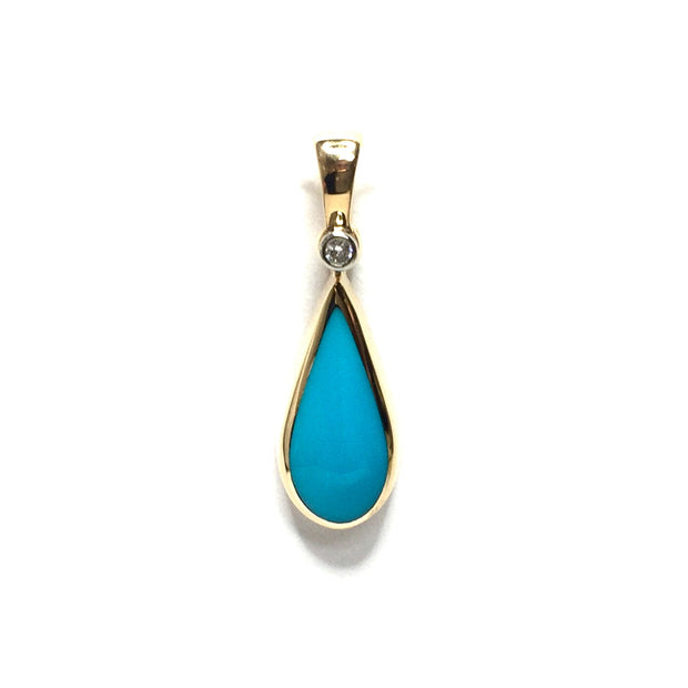 SLEEPING BEAUTY TURQUOISE TEAR DROP INLAID .02ctw DIAMOND PENDANT