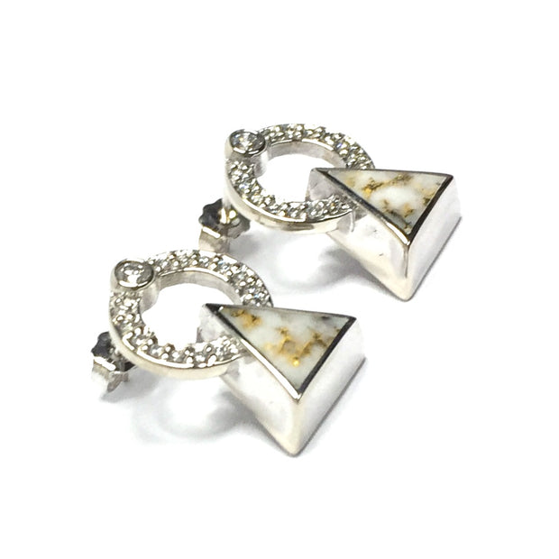 Gold Quartz Earrings Triangle Inlaid .32ctw Round Diamonds Halo 14k White Gold