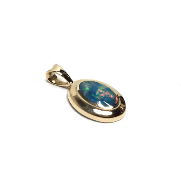 Opal Pendant Oval Inlaid Design 14k Yellow Gold