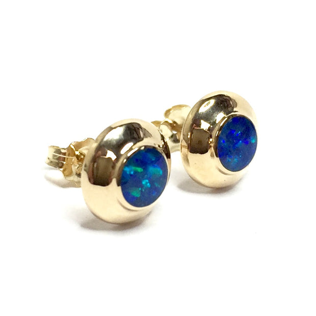 FINE QUALITY OPAL ROUND INLAID STUD EARRINGS