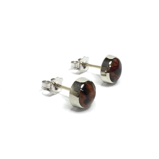 Natural pietersite round inlaid 7mm earrings