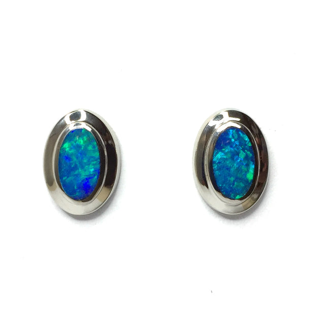 SUPERIOR QUALITY OPAL OVAL INLAID EARRINGS