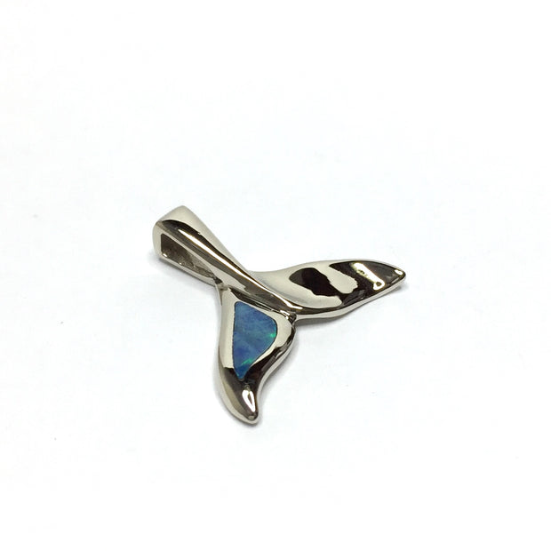 Whale tail necklaces single sided natural opal inlaid sea life pendant made of 14k white gold