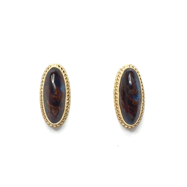 Natural pietersite oval inlaid milgrain earrings