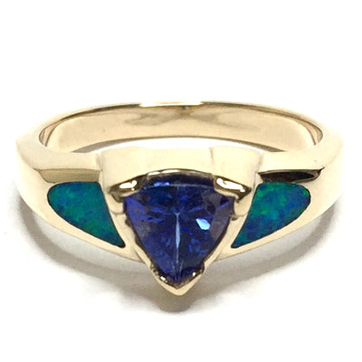 SUPERIOR QUALITY OPAL 2 SECTION INLAID AND TRILLION TANZANITE RING