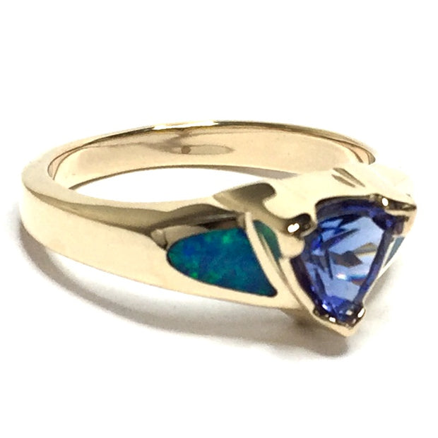 14k yellow gold natural Australian opal rings 2 section inlaid design with trillion cut tanzanite