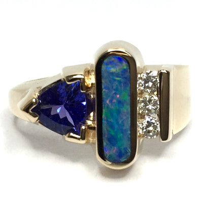 SUPERIOR QUALITY OPAL OVAL INLAID TANZANITE AND .12ctw DIAMOND RING