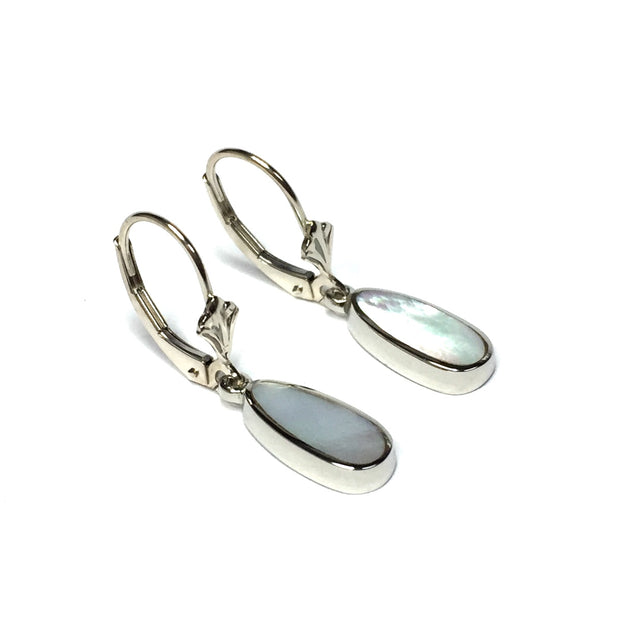 MOTHER OF PEARL INLAID LEVER BACK EARRINGS