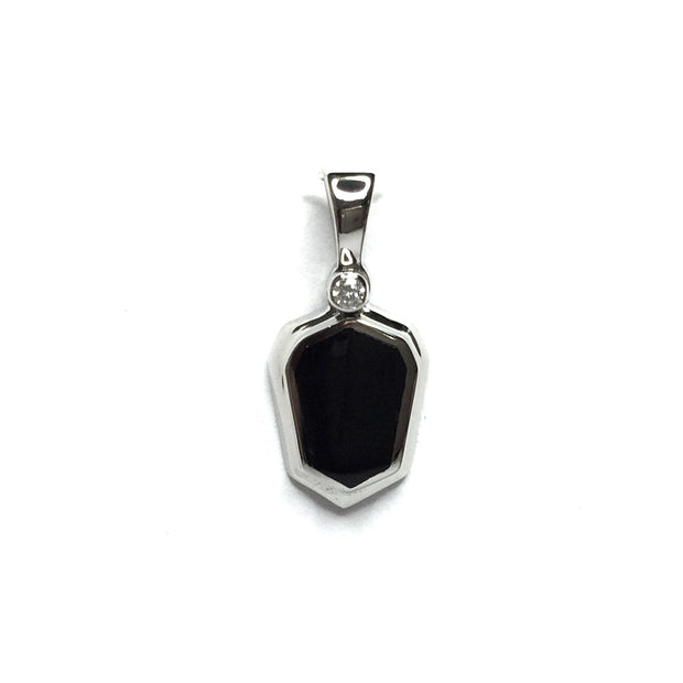 ONYX SHIELD DESIGN INLAID .02ct DIAMOND PENDANT