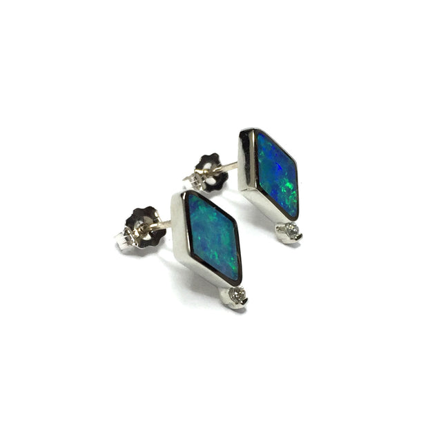 SUPERIOR QUALITY OPAL DIAMOND SHAPE INLAID .04ctw DIAMOND EARRINGS
