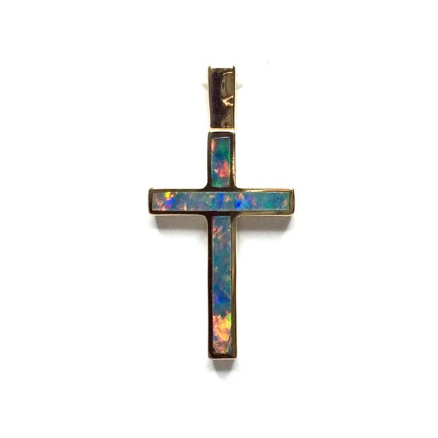 SUPERIOR QUALITY OPAL 2 SECTION INLAID CROSS PENDANT