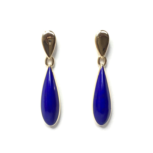 LAPIS TEAR DROP INLAID DANGLE EARRINGS