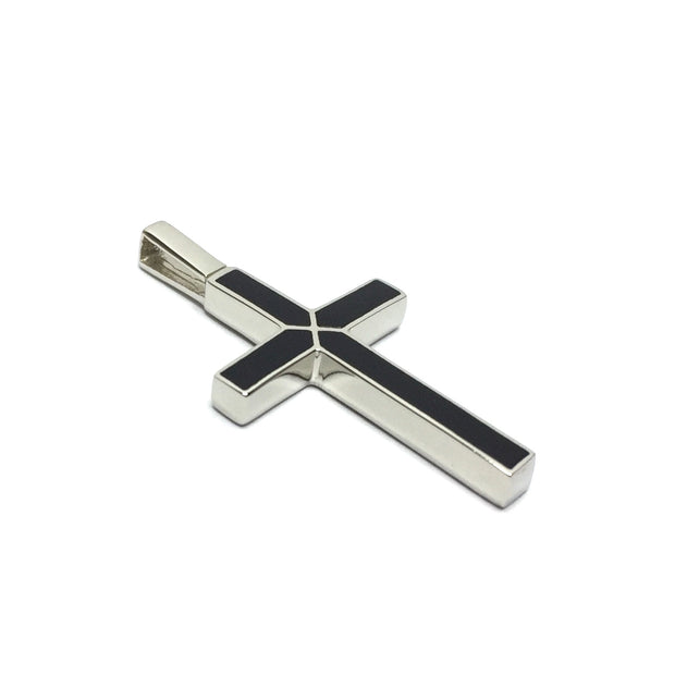 ONYX 4 SECTION INLAID CROSS PENDANT