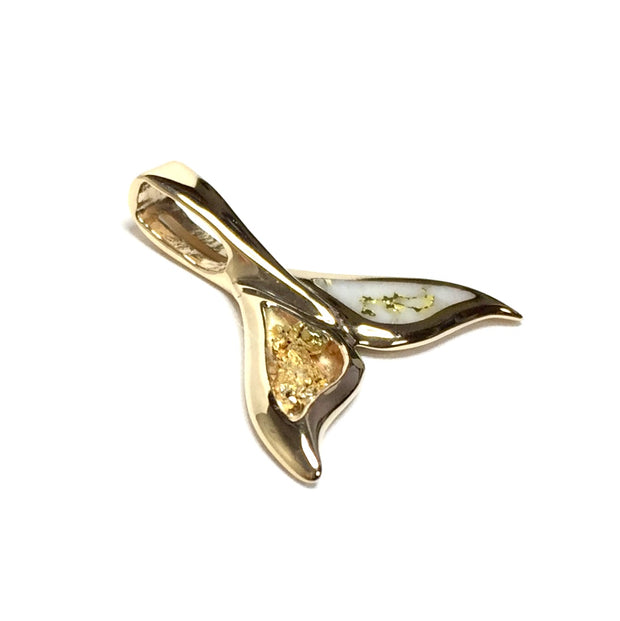 Whale Tail Necklaces inlaid gold in quartz and natural nuggets sea life pendant made of 14k yellow gold