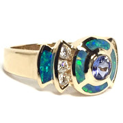 Natural Australian Opal Rings 6 Section Inlaid Round Tanzanite and .28ctw Diamonds 14k Yellow Gold
