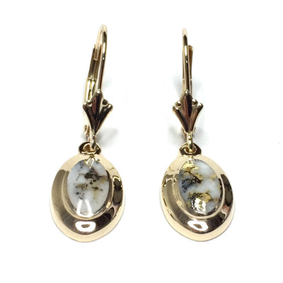 Gold Quartz Earrings Oval Shape Inlaid Design Lever Backs 14k Yellow Gold
