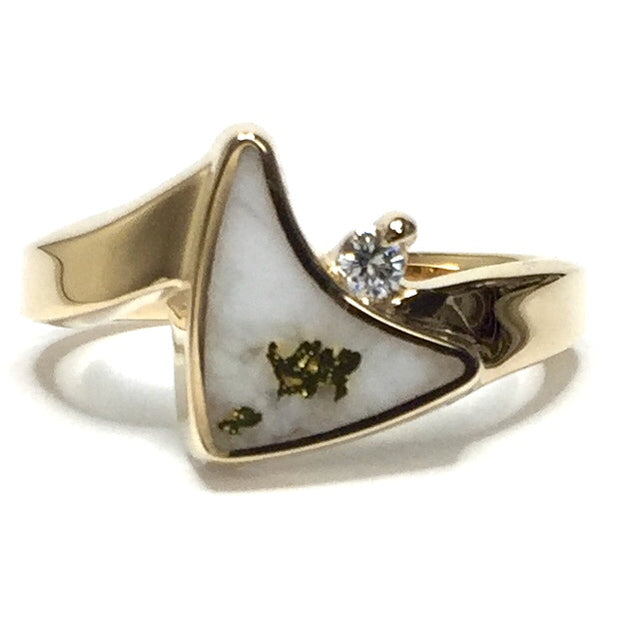Gold quartz ring sail inlaid design .04ct round diamond 14k yellow gold