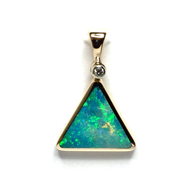 Opal Pendant Triangle Inlaid Design .02ct Round Diamond 14k Yellow Gold