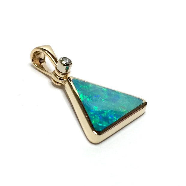 SUPERIOR QUALITY OPAL INLAID TRIANGLE PENDANT