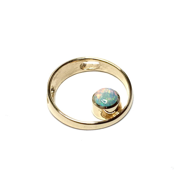 Opal Pendant Round Inlaid Open Circle Design 14k Yellow Gold