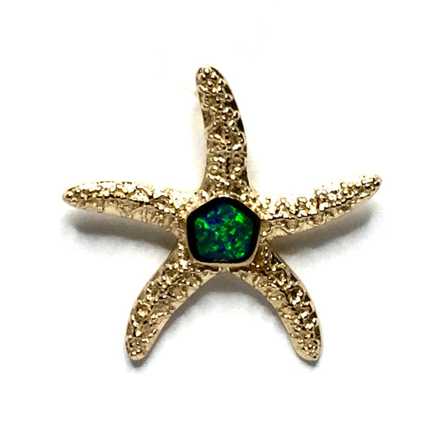 Opal Pendant Inlaid Realistic Star Fish Sea Life Design 14k Yellow Gold