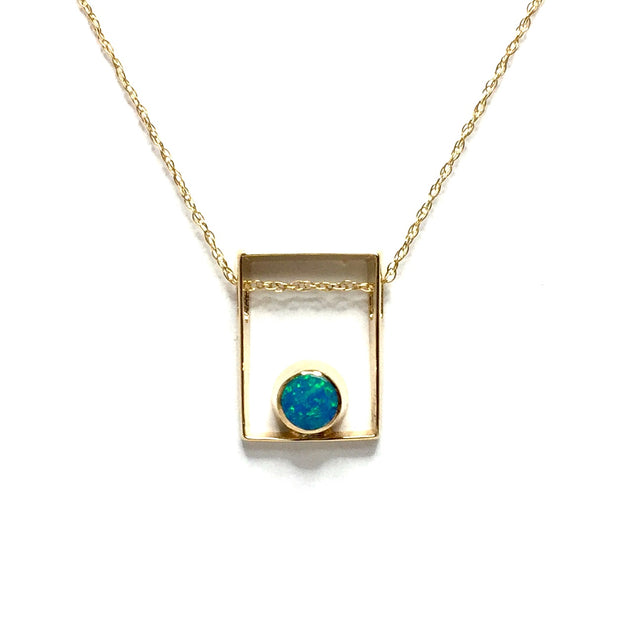 Opal Pendant Round Inlaid Open Square Design 14k Yellow Gold
