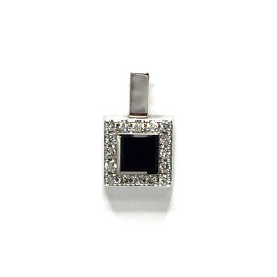 ONYX SQUARE INLAID .14ctw DIAMOND PENDANT