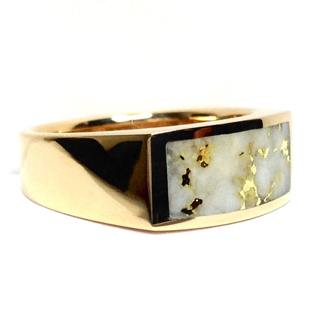 COLLECTION QUALITY GOLD AND QUARTZ RECTANGLE INLAID RING