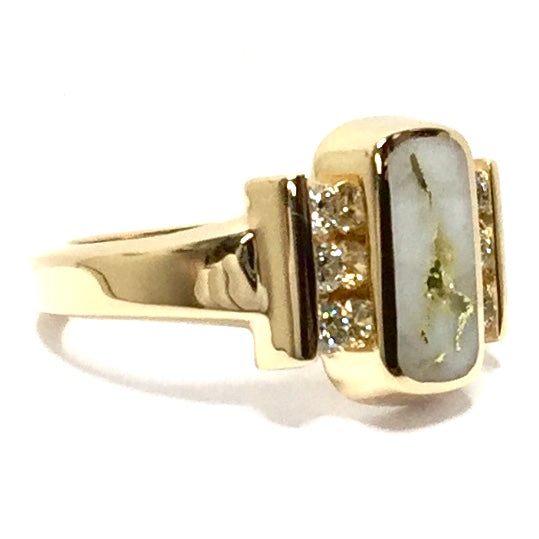 Gold Quartz Ring Oval Inlaid Design .24ctw Round Diamonds 14k Yellow Gold