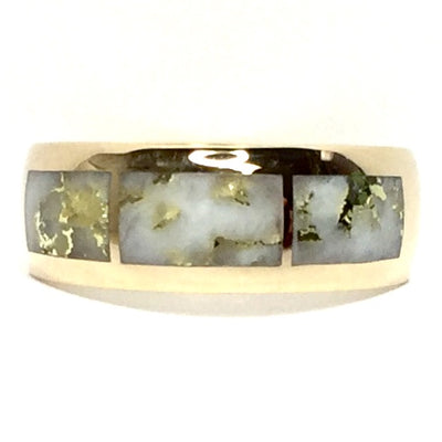 Gold Quartz Ring 3 Section Rectangle Inlaid Design Band 14k Yellow Gold