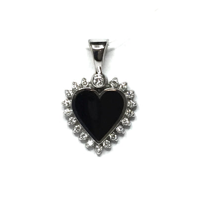 ONYX HEART SHAPE INLAID .21ctw DIAMOND PENDANT