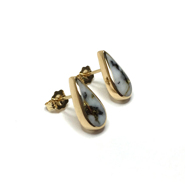 Gold quartz earrings tear drop inlaid studs 14k yellow gold