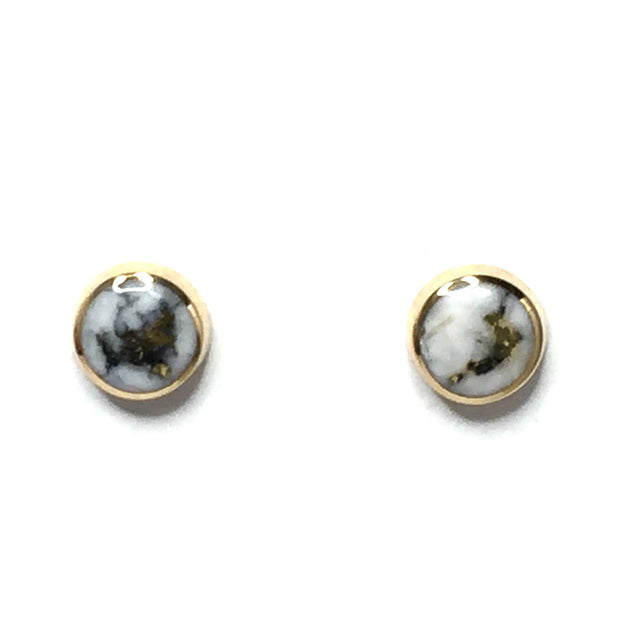 FINE QUALITY GOLD AND QUARTZ INLAID 6MM ROUND EARRINGS