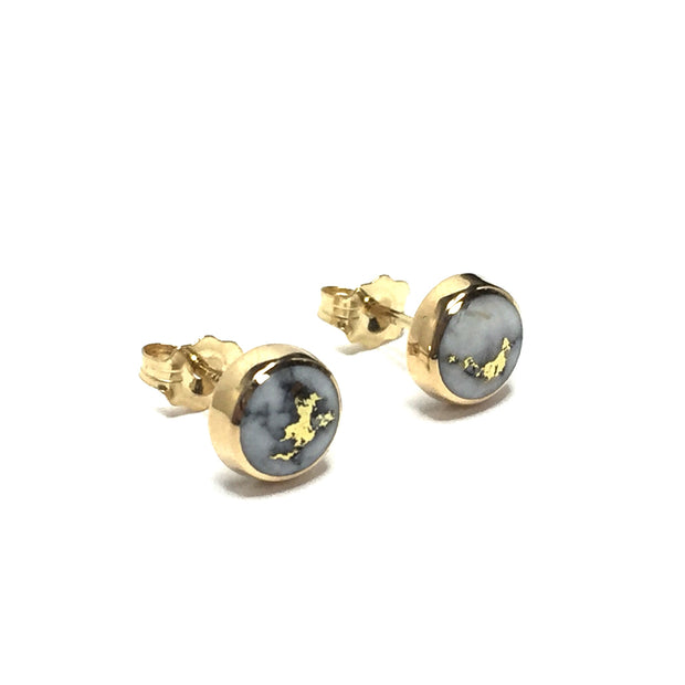 Gold Quartz Earrings 6mm Round Inlaid Studs 14k Yellow Gold