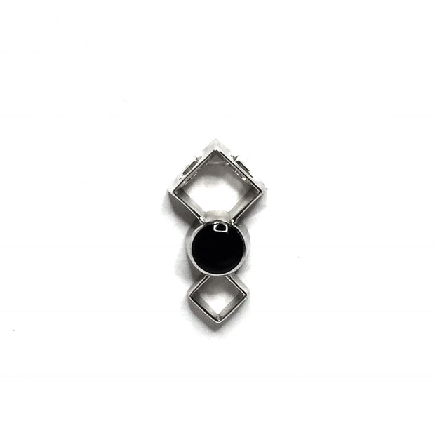 ONYX ROUND INLAY DOUBLE DIAMOND DESIGN PENDANT