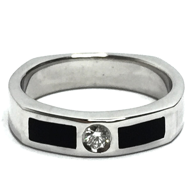 ONYX 2 SECTION INLAID .10ctw DIAMOND BAND