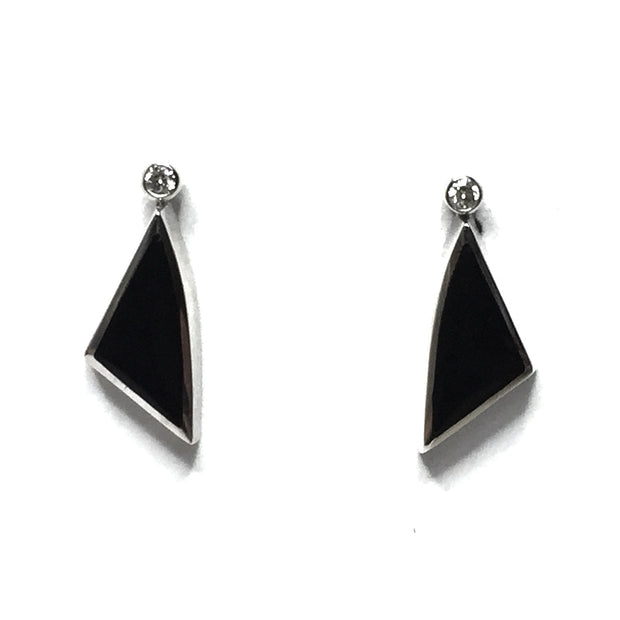 ONYX TRIANGLE SHAPE INLAID .04ctw DIAMOND EARRINGS