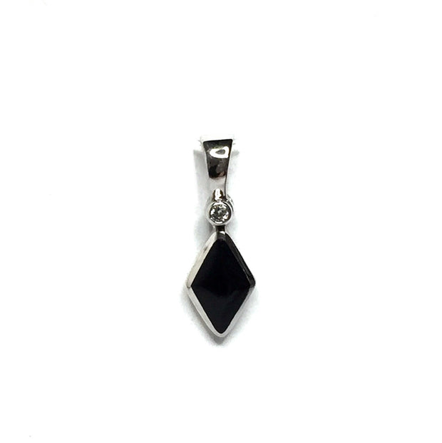 ONYX DIAMOND SHAPE INLAY .02ct DIAMOND PENDANT