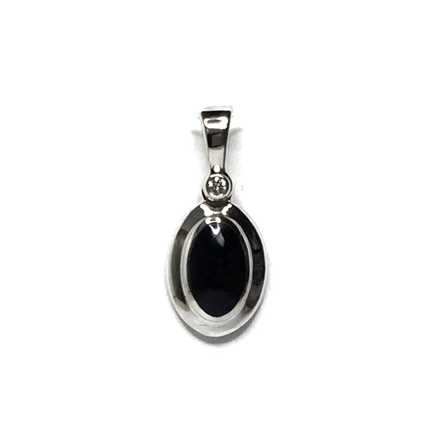 ONYX OVAL INLAID .02ct DIAMOND PENDANT