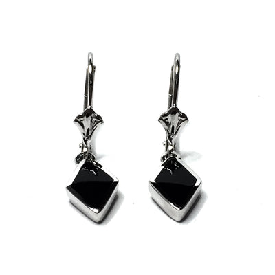 ONYX INLAID DIAMOND SHAPE LEVER BACK EARRINGS