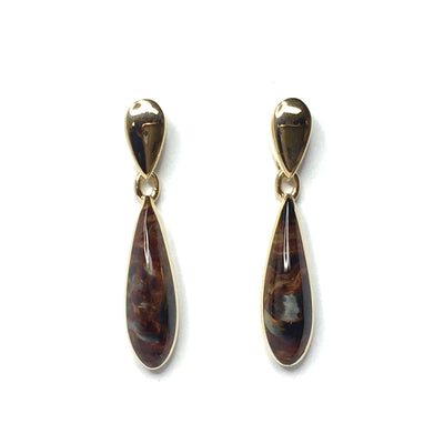 Natural pietersite inlaid tear drop design earrings