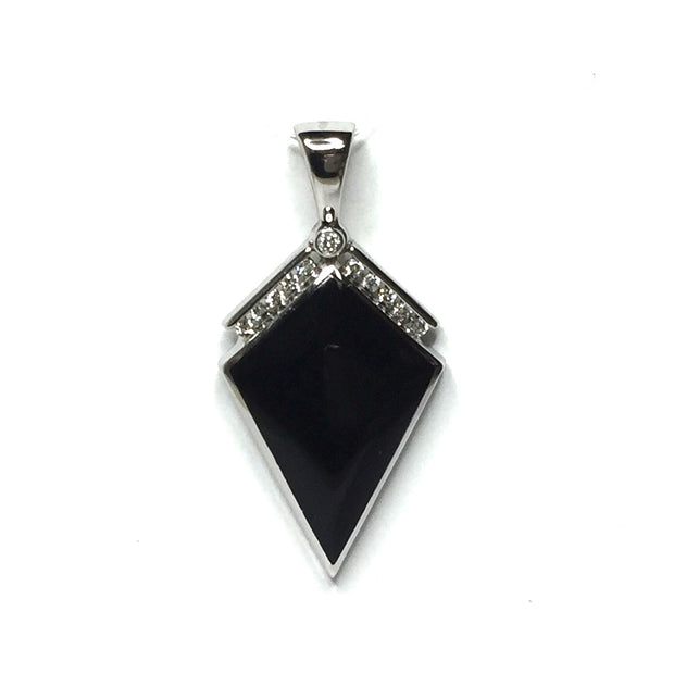 ONYX KITE DESING INLAY .19ctw DIAMOND PENDANT