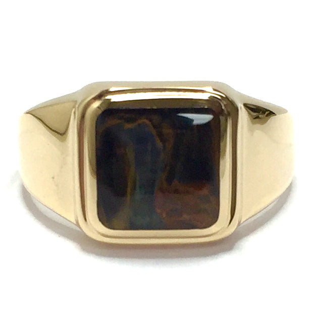 NATURAL PIETERSITE SQUARE INLAID RING
