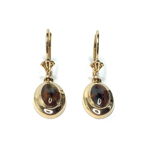PIETERSITE OVAL INLAID LEVER BACK EARRINGS