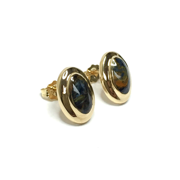 PIETIERSITE OVAL INLAID EARRINGS