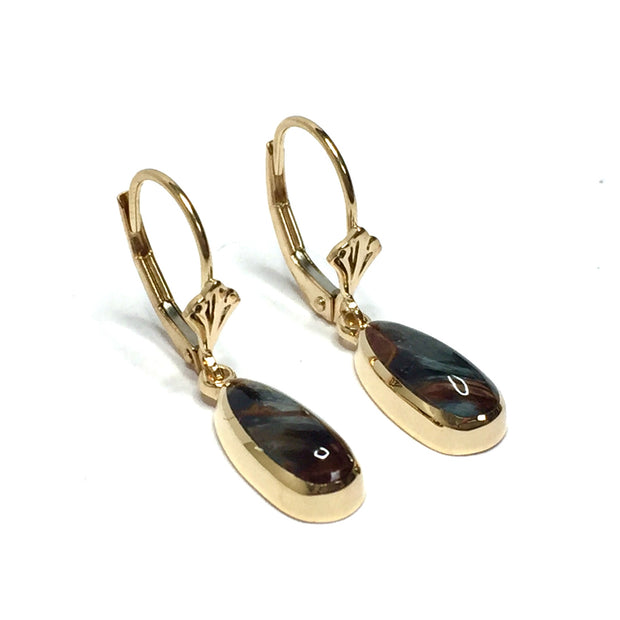 PIETERSITE TEAR DROP INLAID LEVER BACK EARRINGS