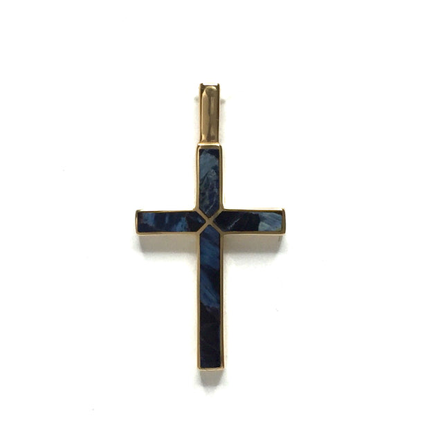 NATURAL PIETERSITE 4 SECTION INLAID CROSS PENDANT