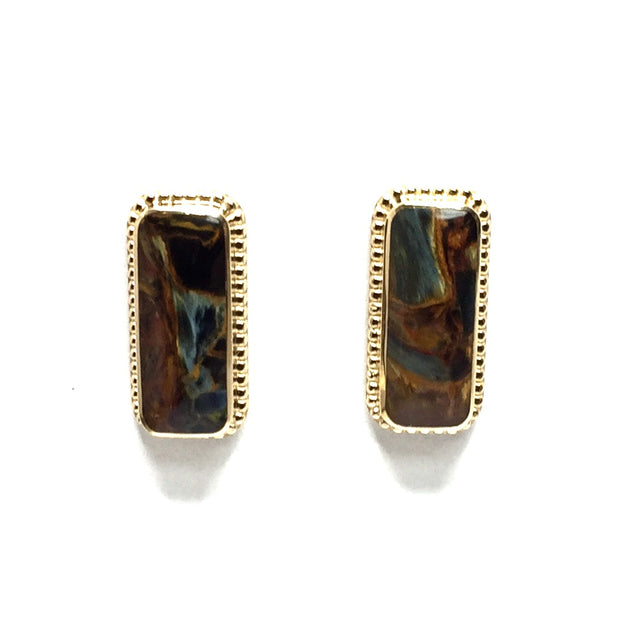 Natural pietersite rectangle inlaid milgrain earrings